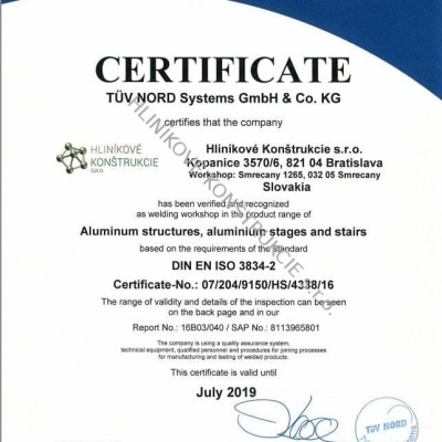 certificate ISO3834